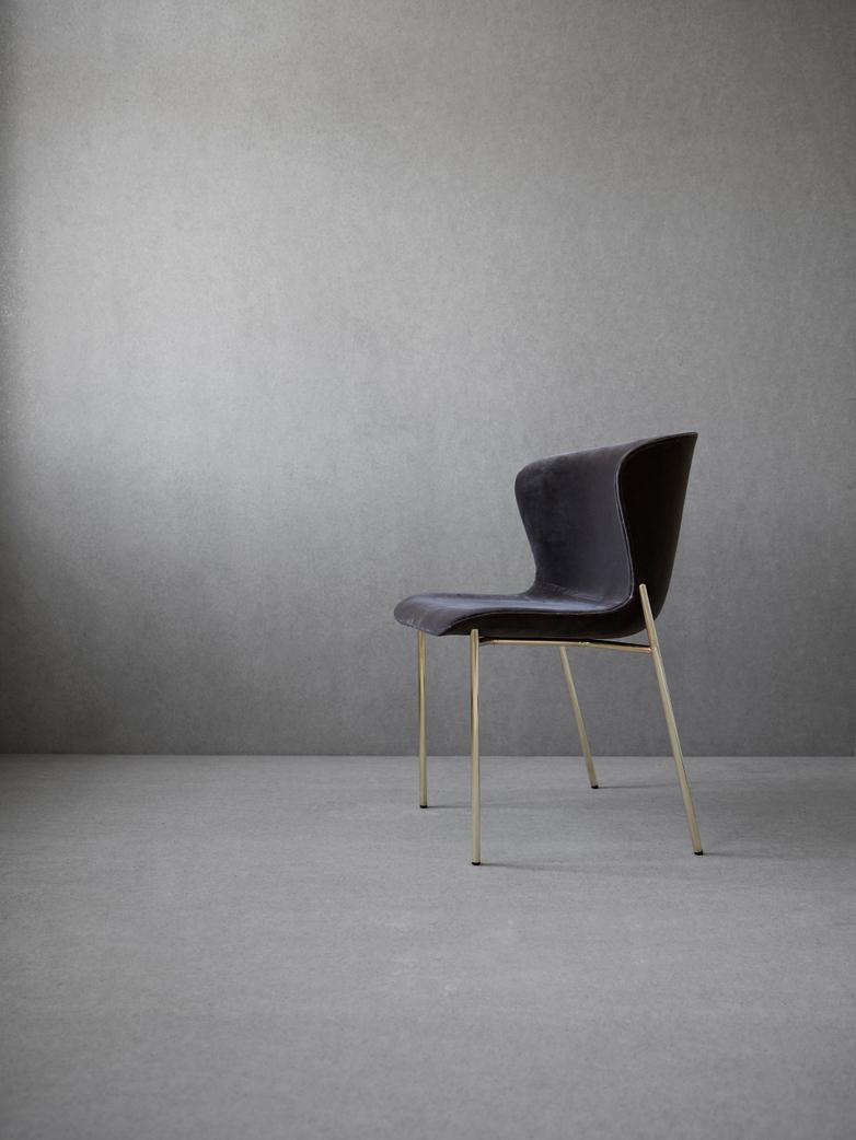 La Pipe Chair Velvet - Brass Frame