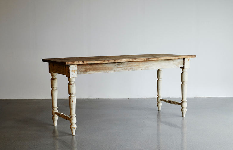 Vintage Wood Table w. White Frame