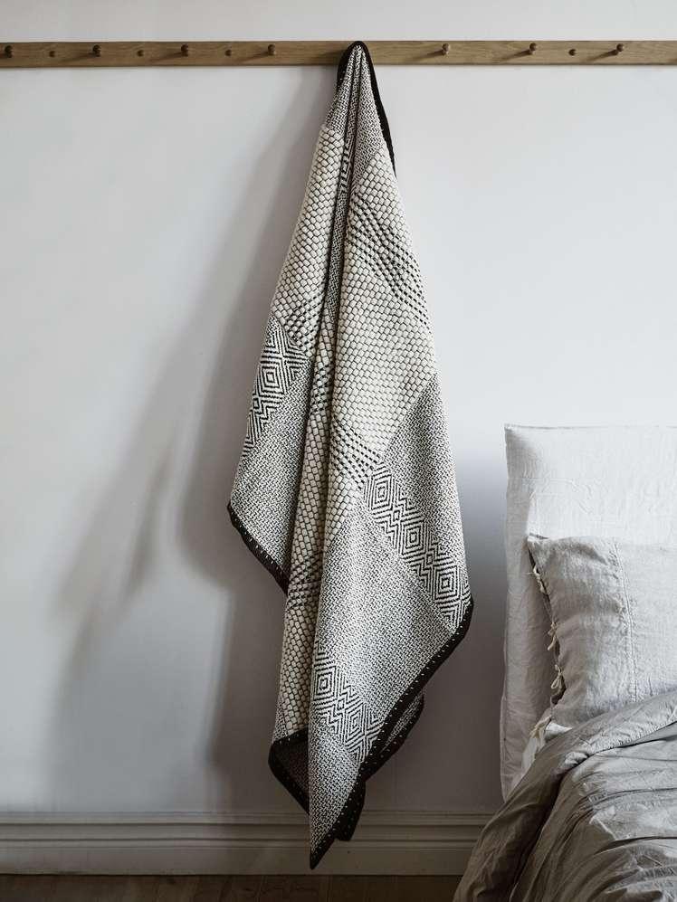 Wool & Cotton Throw Noir Et Blanc