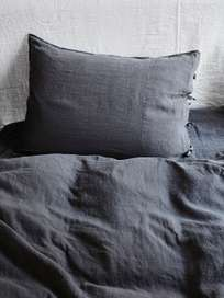 Selena Washed Linen Bed Set Plomb