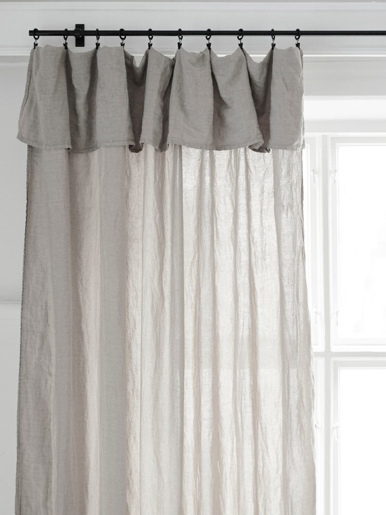 Selena Washed Linen Curtain Ciment 180x290