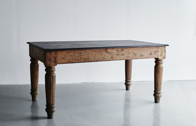 Vintage Dining Table With Black Top