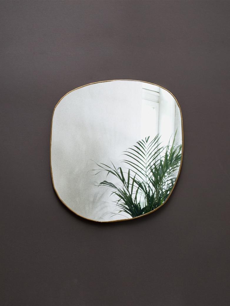 Ame Hand Crimped Brass Mirror 34x36 cm