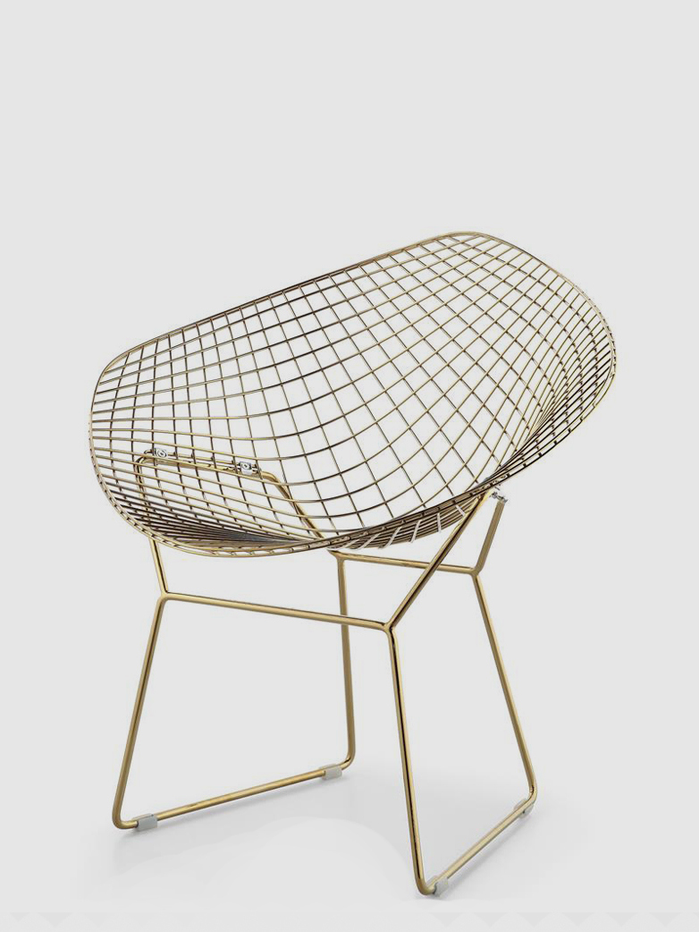 Bertoia Diamond Chair 18 k Gold