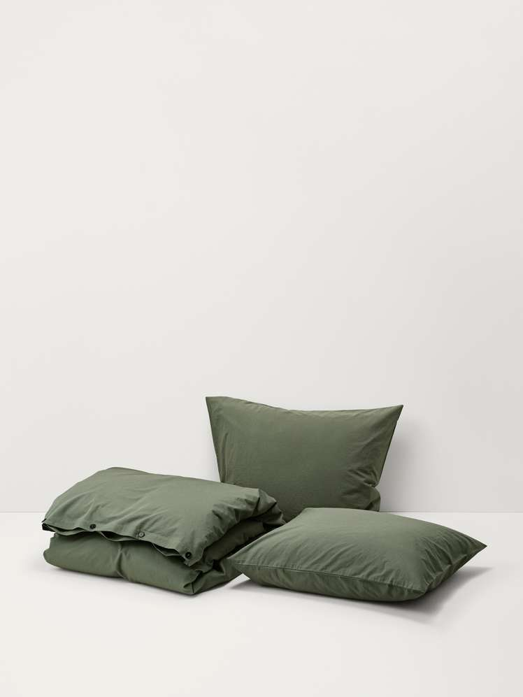 Stone Washed Cotton - Olive Green