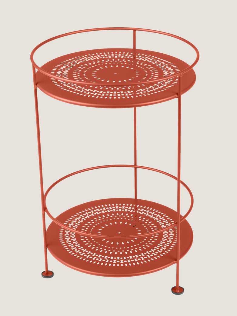 Gueridons Double Top Perforated- Paprika