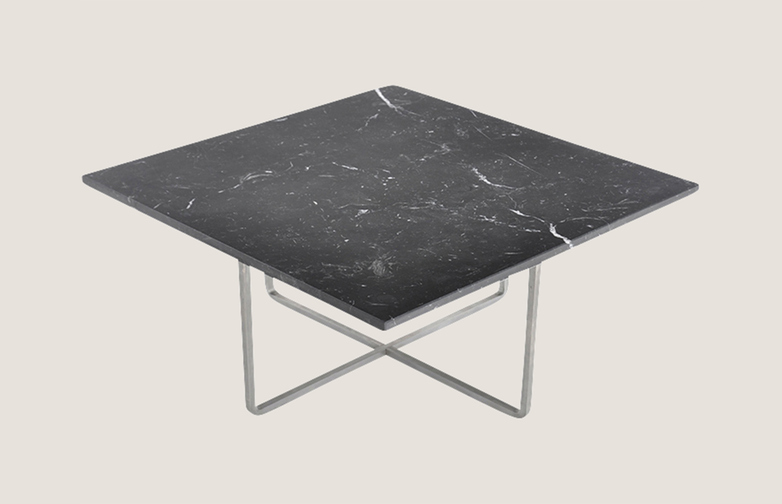 Ninety table 80 - Black Marble - Silver