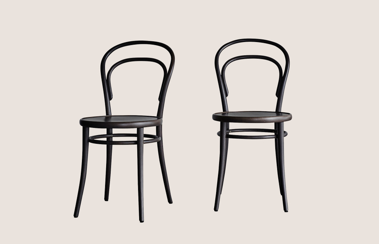 Chair No 14 - 2 pack - Granit - Wood Seat