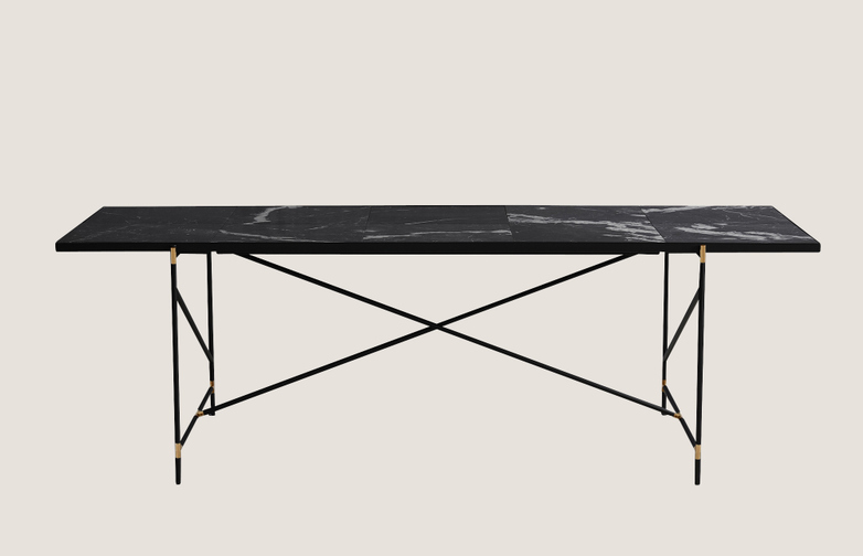 Dining Table 230 - Black Brass - Black Marble