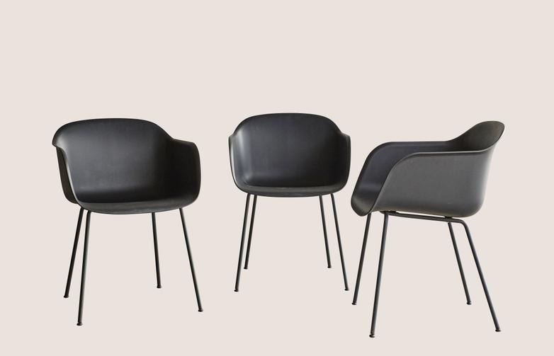 Fibre Chair Black - 3 Pack