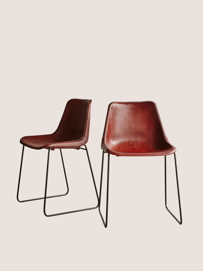 Leather Chair Brown - 2 pack