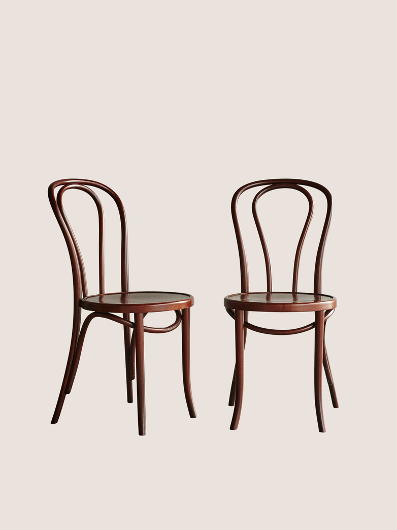 Chair A18 Wood Seat - Walnut - Wood Seat - 2 Pack