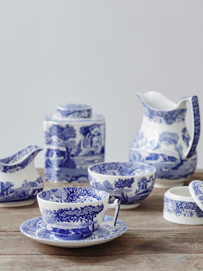 Blue Italian Teacup with Saucer