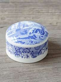 Blue Italian Round Trinket Box