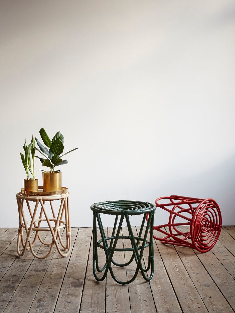 Rattan Paperclip Stool