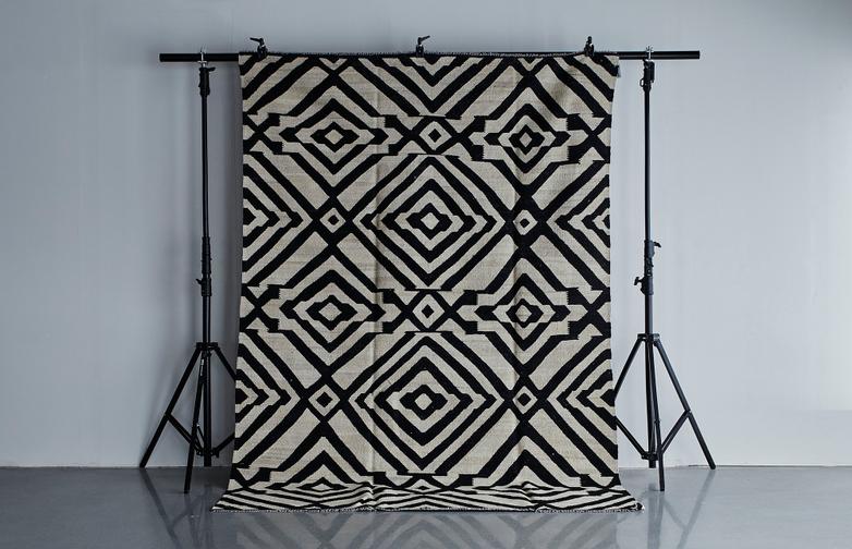 Kelim Moroccan Black & White 217x318